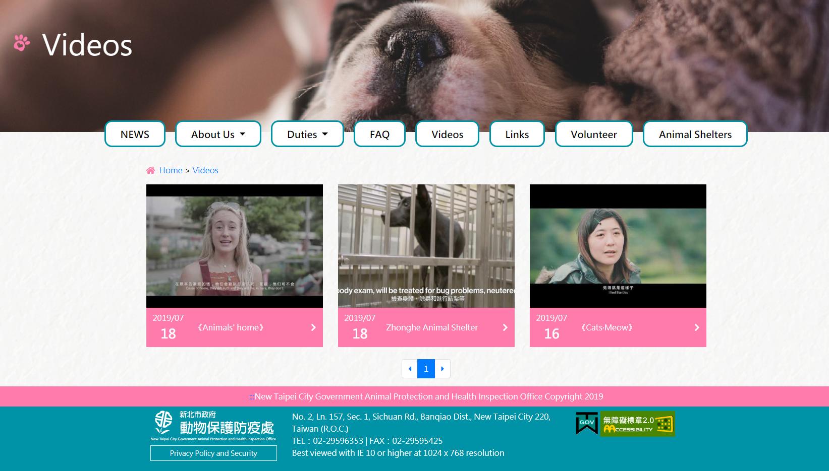 提供Animals' home介紹動物之家及各式影片並皆附有英文字幕